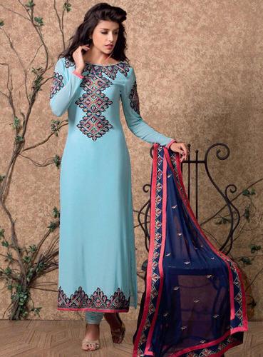 Sky Blue Designer Salwar Suit with Heavy Dupatta, Designer Suits .