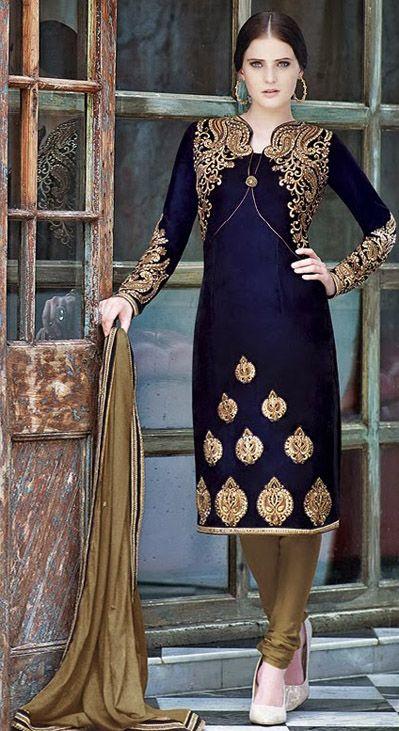 USD 137.67 Blue Embroidery Velvet Designer Salwar Suit 28426 (com .