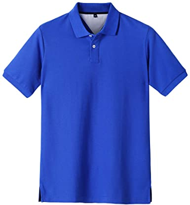 ACOTOP Men's Pure Cotton Classic Solid Short Sleeve Polo Shirt .