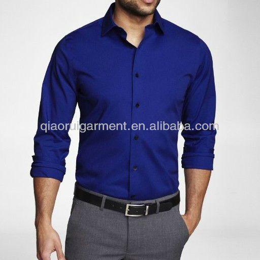 Men's Royal Blue Slim Fit Dress Shirt uniform shirt (With images .