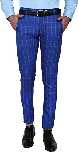 One Click Men's Slim Fit Blue Check Formal Trousers: Amazon.in .