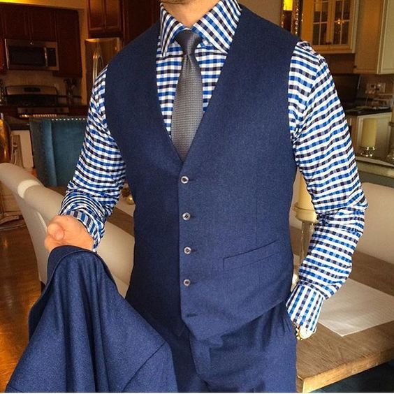 2017 Autumn Winter Navy Blue Vests For Men Slim Fit Groom Vest .