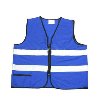EN471 high visibility blue reflective vests with reflective tape .