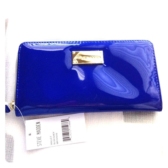 Steve Madden Bags | Reduced Zip Around Blue Wallet | Poshma