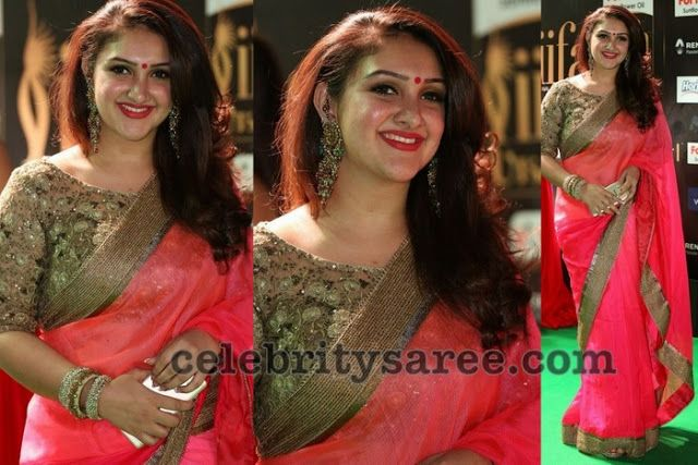 Sridevi Pink Saree Boat Neck Blouse (With images) | Boat neck .