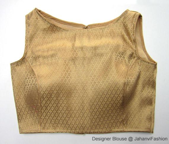 Readymade boat neck blouse with golden/silver color chandery | Et