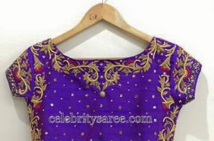 Boat Neck Blouse in Purple - Saree Blouse Patter