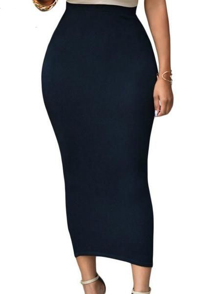 Bodycon Long Skirt Black High Waist Tight Maxi Skirts (With images .