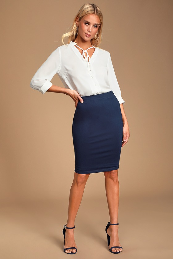 Chic Pencil Skirt - Navy Blue Midi Skirt - Bodycon Ski