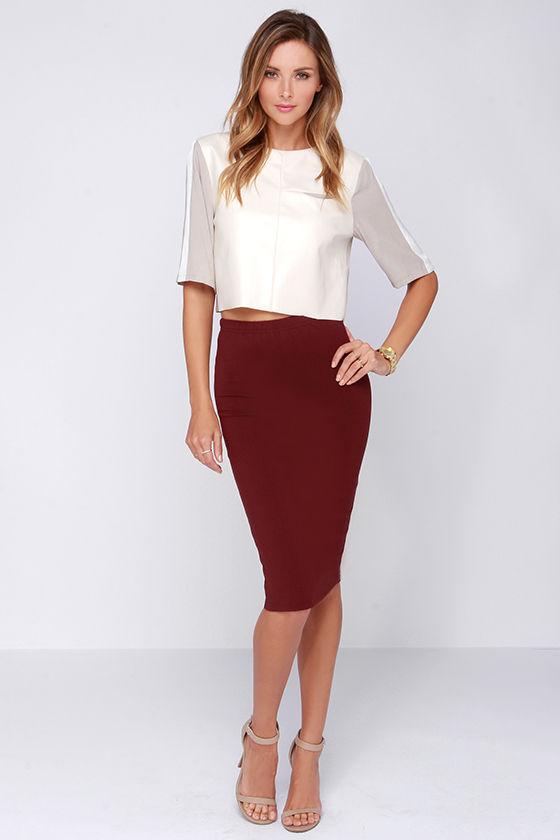 Lovely Burgundy Skirt - Midi Skirt - Bodycon Skirt - $43.