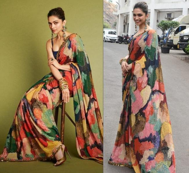 Deepika Padukone Multi Color Digital Print Latest Bollywood Sarees .