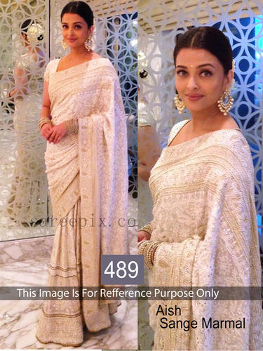White Bollywood Saree at Rs 1660/piece(s)   Georgette Sarees   ID .