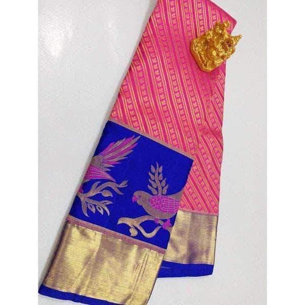 Kanchipuram Silk Wedding / Bridal Sarees with Bird Design Border .