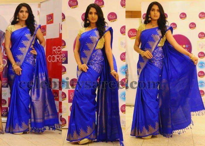 Royal Blue Temple Border Saree (With images) | Bridal silk saree .