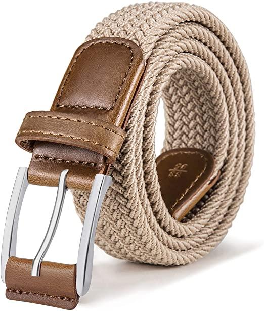 Stretch Belt Men, Bulliant Mens Woven Stretch Braided Belt 1 3/8 .