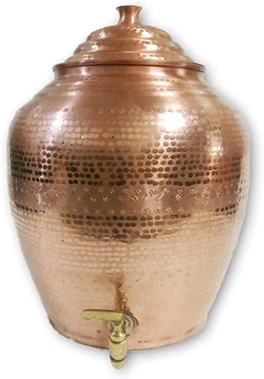 Amazon.com: Pure Copper Water Storage Matka Mathar Hammered Design .