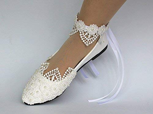 Amazon.com: Sweet women Stylish Pearls Flat Wedding Shoes For .