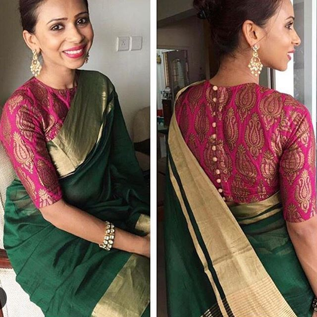 Green tissue Saree with pink brocade blouse To purchase this .
