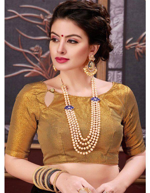 Golden Brocade Blouse | Blouse designs, Blouse designs indian .