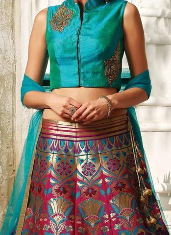 Pink & Blue Banarasi Silk Brocade Lehenga Choli ,Indian Dresses .