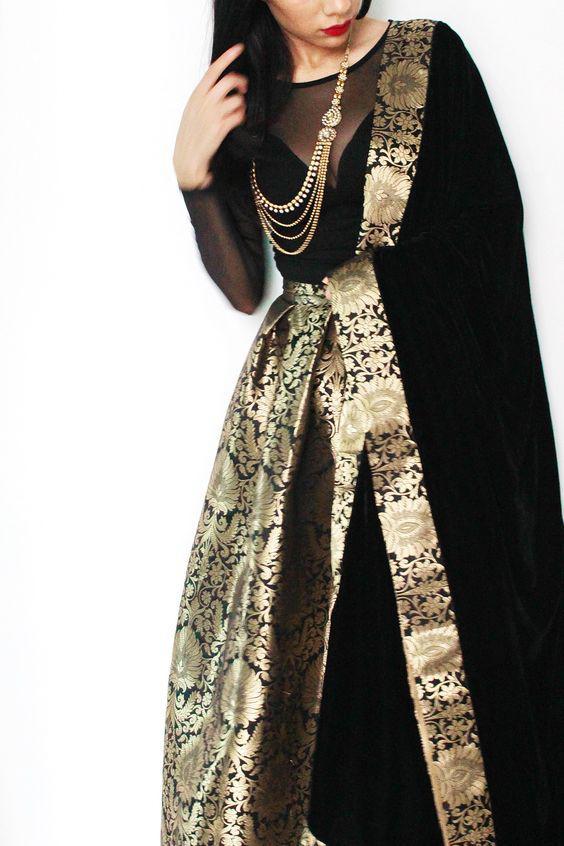 Gold and Black Brocade Lehenga Choli Online Shopping – Indian Dress