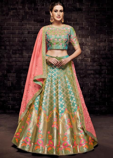 Turquoise Brocade Lehenga Choli With Dupatta Most Loved Styles .