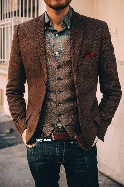 2020 2018 New Design Brown Mens Blazers British Style Tuxedos .