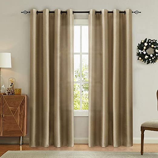 Amazon.com: Vangao Gold Brown Curtains 95 inches Long Faux Silk .