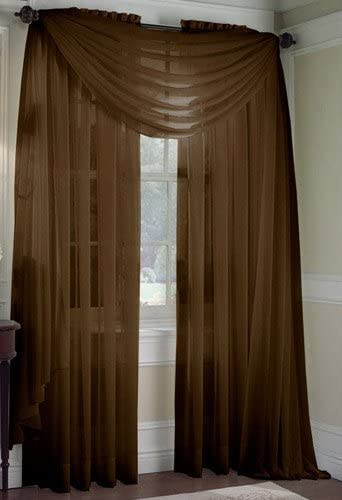 Amazon.com: 2 Piece Solid Coffee Brown Sheer Window Curtains/drape .