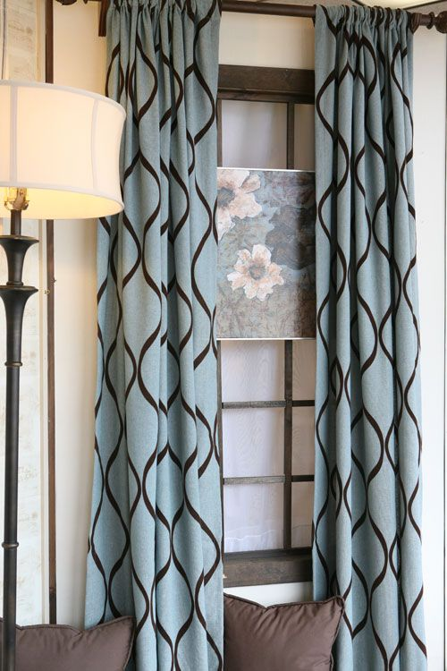 Curtain panels in turquoise and brown | CURTAIN PANELS TURQUOISE .