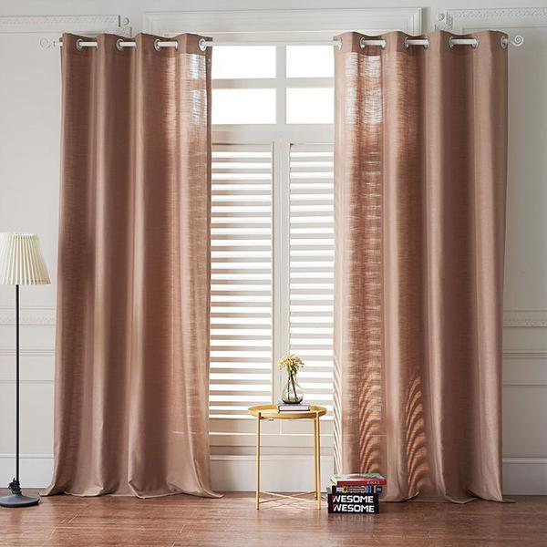 Modern Light Brown Color Linen Solid Sheer Curtain Window Curtains .