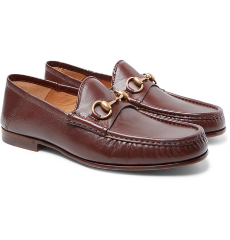 Gucci - Easy Roos Horsebit Collapsible-Heel Leather Loafers - Men .