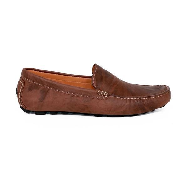 Men's Wood Brown Driving Loafers by Footwear Designer Bernard DE WULF