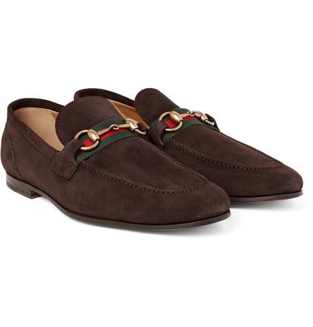 Gucci - Elanor Horsebit Webbing-Trimmed Suede Loafers - Brown .