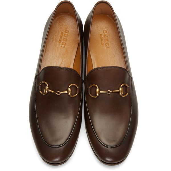 Gucci Brown Jordaan Loafers (37.330 RUB) found on Polyvore .