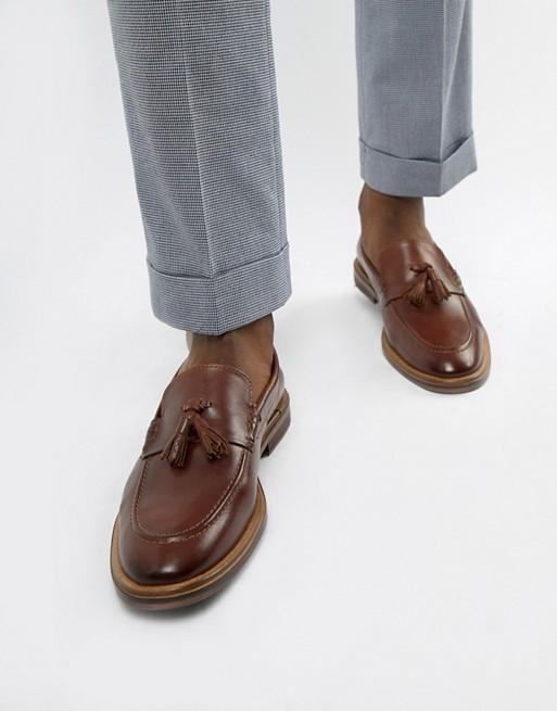 WALK London West tassel loafers in brown leather | AS