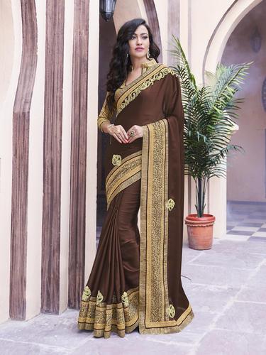 Chiffon Royal Brown Color Saree, Rs 1090 /piece Indian Women .