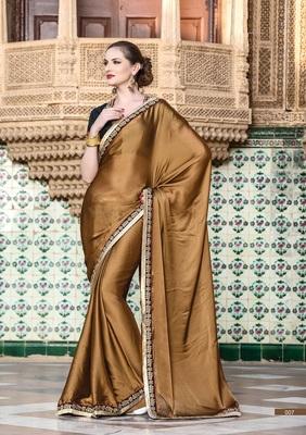 GOLDEN - BROWN plain satin saree with blouse - LALGULAL - 3584