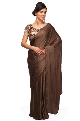 Brown plain satin saree With Blouse - PRET A PORTER - 11612