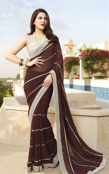Picture of Harmonious Brown Saree with Designer Blouse Piece (With .