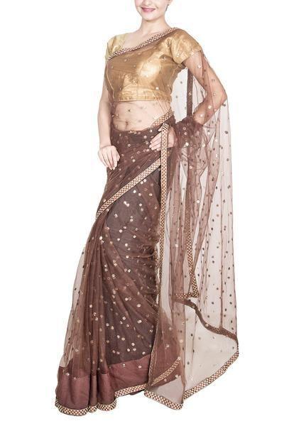 Brown Soft net saree | Indian sarees, Net saree, Fashi