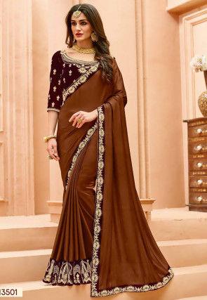 Dori Work - Brown - Saree Online: Buy Latest Indian Sarees (Saris .