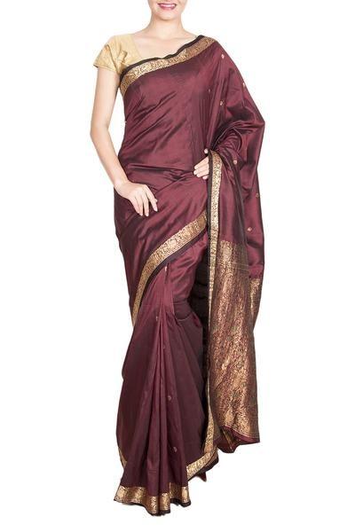 Dark Brown Silk saree (With images) | Brown silk, Silk sarees, Dress
