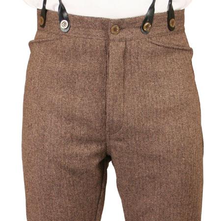 Mens Trousers - Brown Herringbone Twe