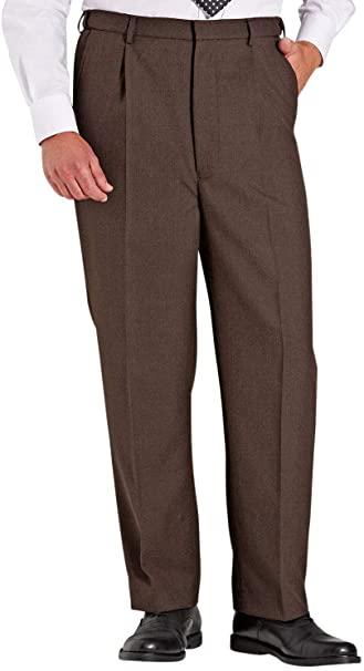 Chums Mens High Waisted Wool Blend Trouser Pants Stretch Waistband .