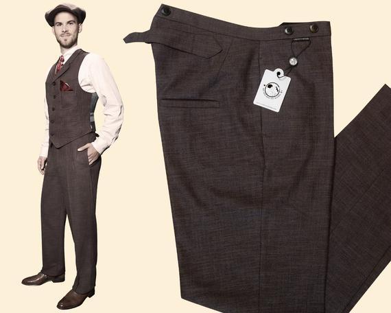 20s 30s TROUSERS brown cotton linen blend swing lindy hop | Et
