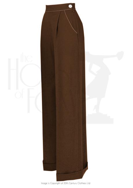 1940s Ladies Pleated Wide Leg Trousers in Bro