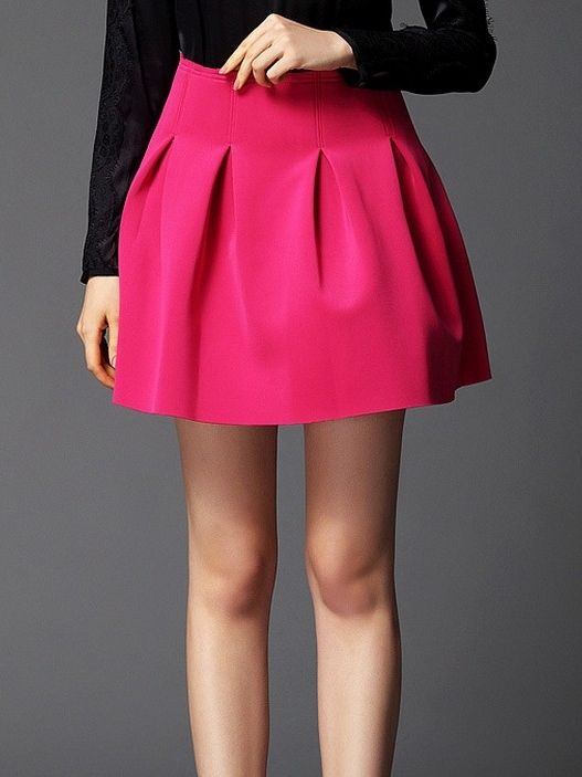 Buy Sweet Solid Color High Waist Pleated Bubble Skirts & Skirts .
