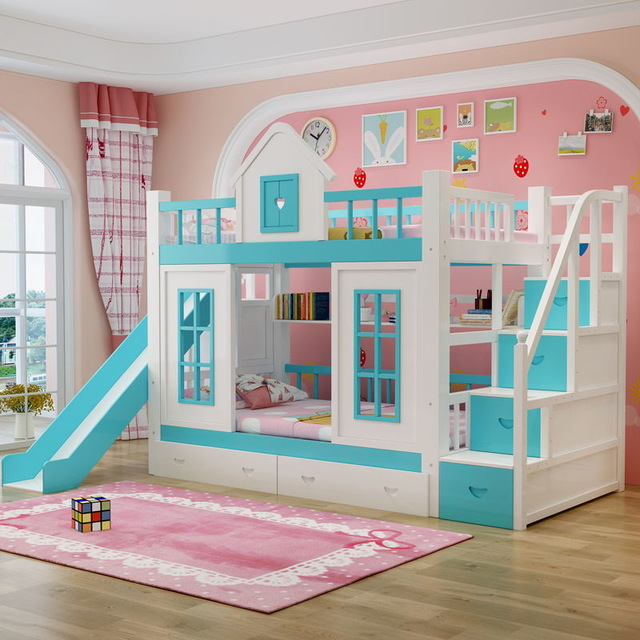 Foshan modern oak wood children 3 foors bed with stairs bunk beds .