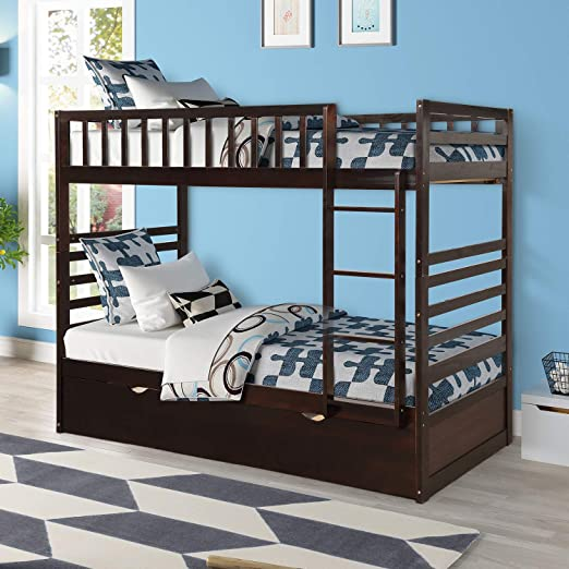 Amazon.com: Merax Bunk Beds for Kids Twin Over Bunk Bed with .